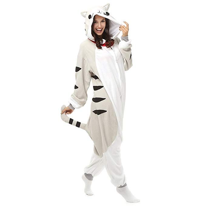 Adult Chi s Cat Onesie Polar Fleece Pajamas Cartoon Sleepwear Animal  Halloween Cosplay Costume Unisex (L (Height 5 6-5 10)) - mardi gras outfit  casual ... 2c2917b77