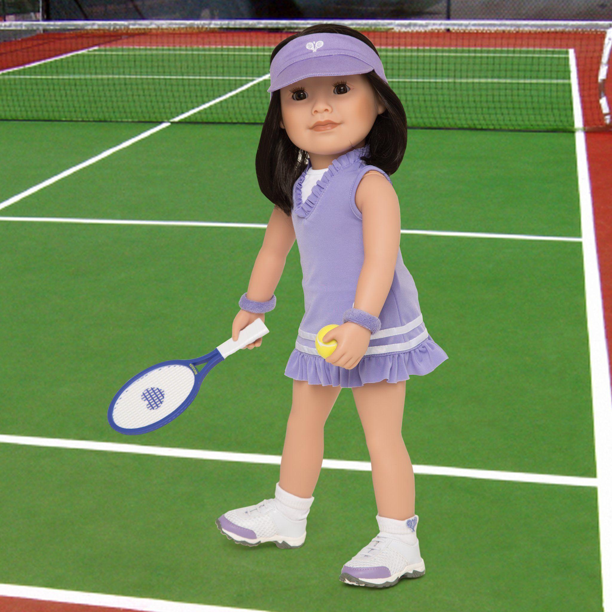 ad3cd0b68f2b2 18 inch doll wearing tennis dress, visor, socks, undies, tennis ...