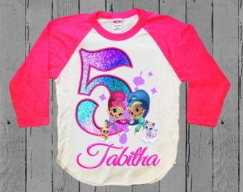Shimmer and Shine Season 2 Custom Personaliz​e Birthday Party Favor Gift T-Shirt