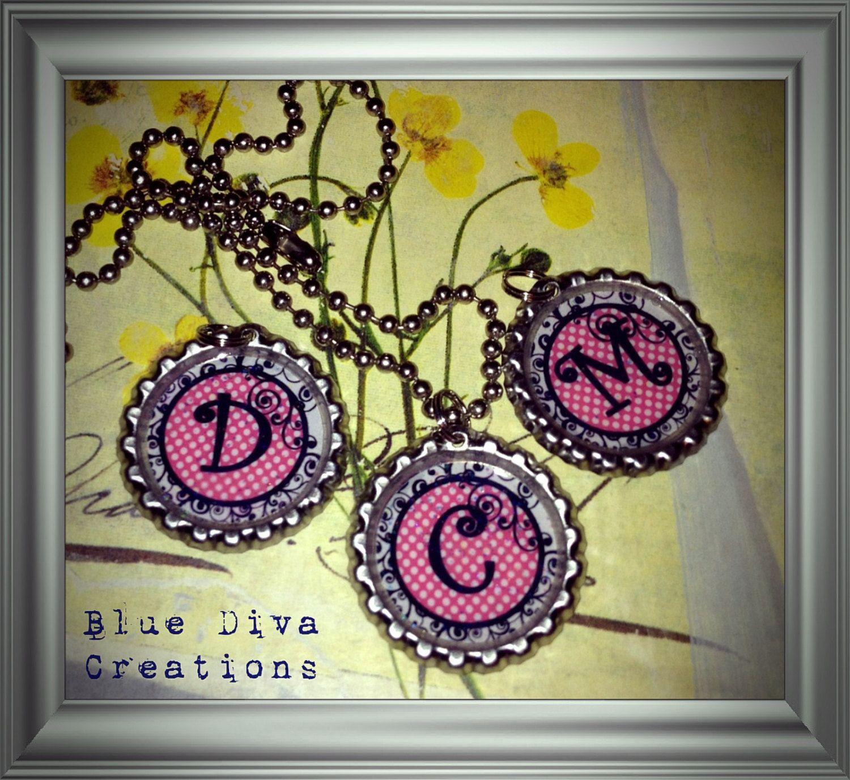 Black, Pink & White Initial Bottle Cap Necklace