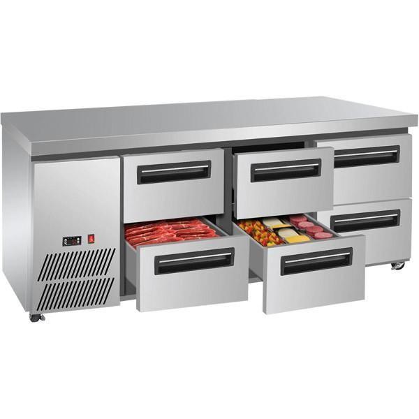 Restaurant Kitchen Fridge lowboy benchtop fridge, 6 drawer space saving refrigerater
