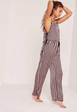 Pink & Black Striped Tie Side Pyjama Set