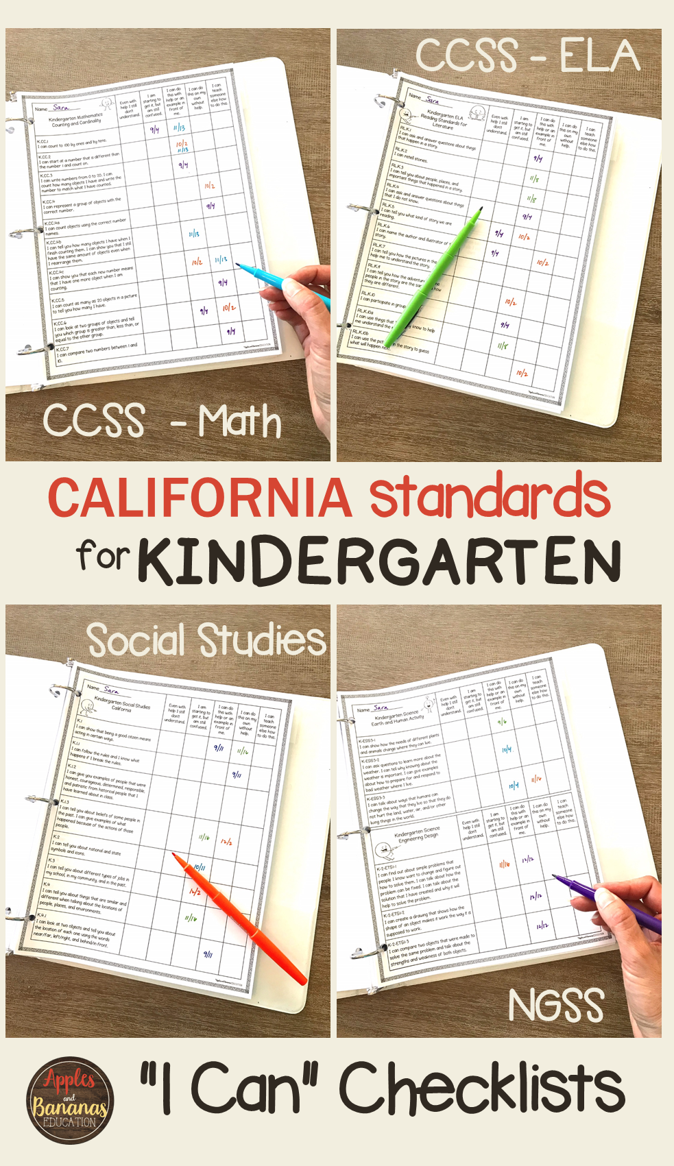 Kindergarten Standards Checklists for All Subjects - 'I Can