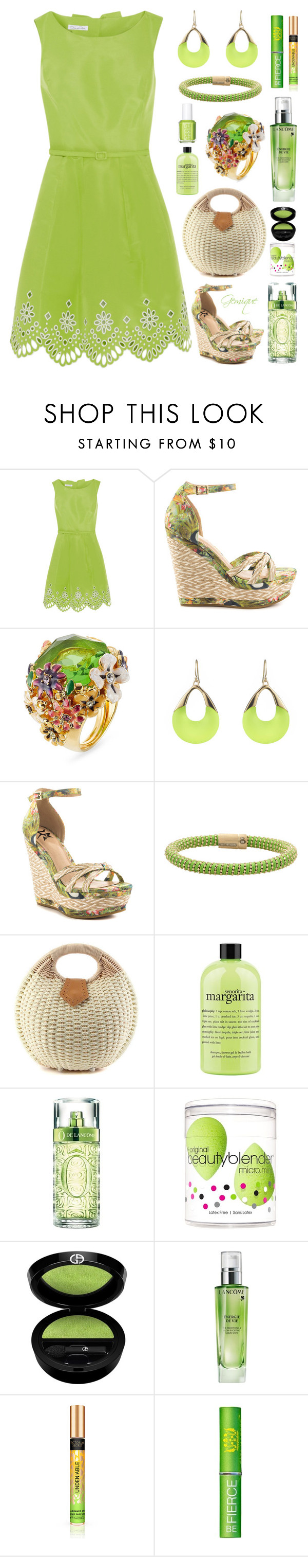 """Limey Girl"" by gemique ❤ liked on Polyvore featuring Oscar de la Renta, Lust For Life, Kenneth Jay Lane, Alexis Bittar, Carolina Bucci, Essie, philosophy, Lancôme, beautyblender and Armani Beauty"