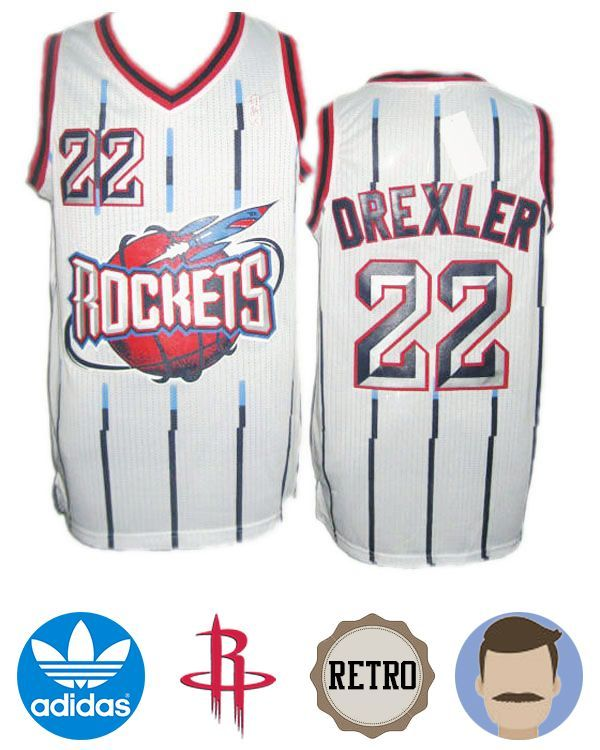 c9bf78fc4d2 Wear this stylish Men s Adidas Houston Rockets  22 Clyde Drexler White  Hardwood Classics Swingman Throwback