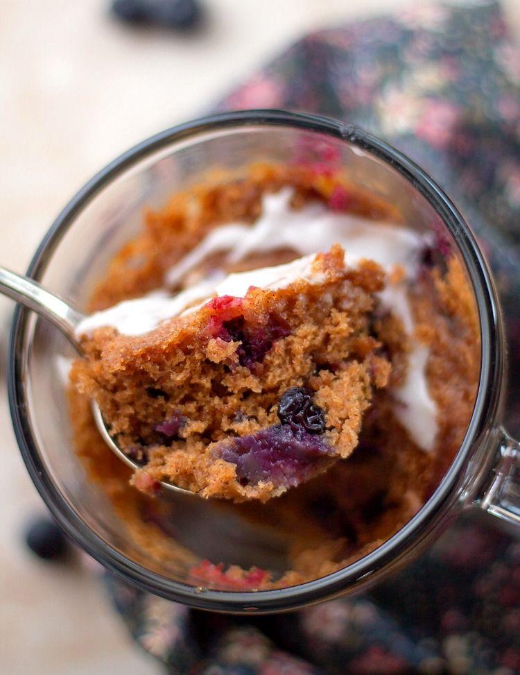 Single Serving Blueberry Mug Cake has a moist, tender ...