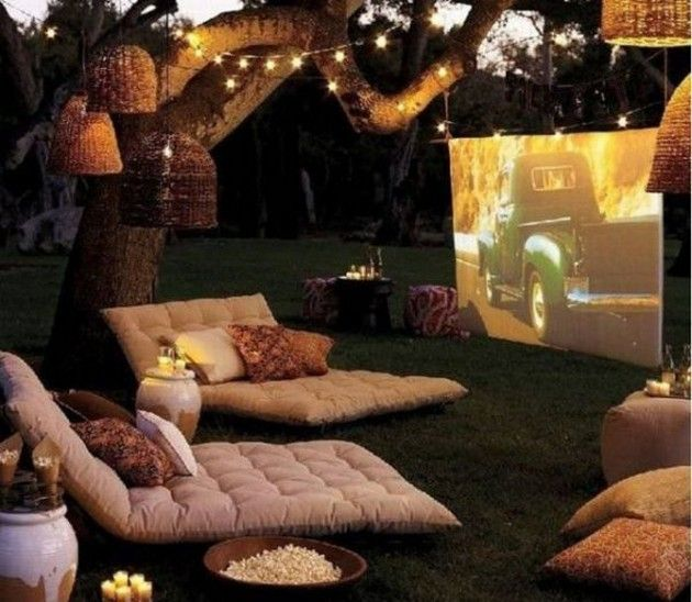 Backyard Heaven ~ Fairy Lights In The Trees, Lounges, And Movie Projected  On A