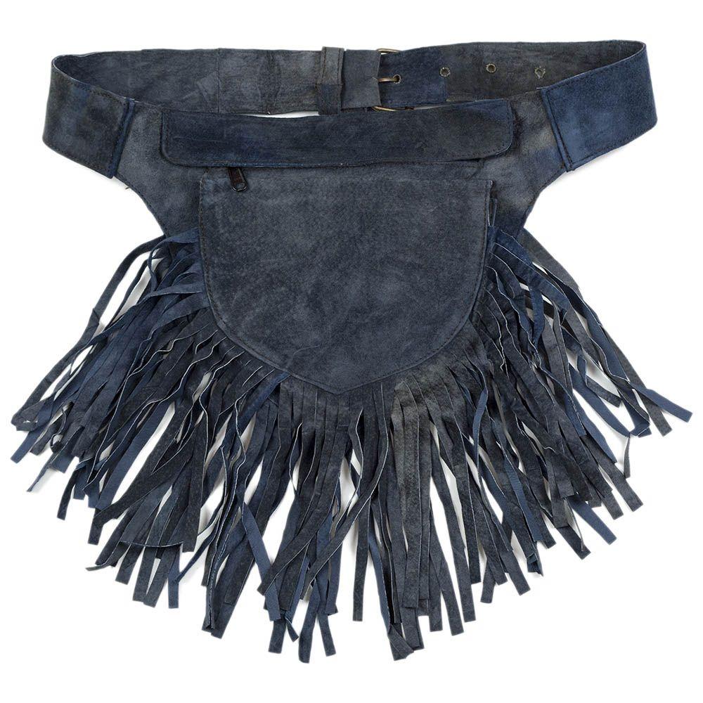 ceinture sacoche en cuir bleur à franges / utility belt blue in leather