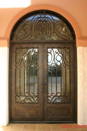 باب خارجي بمرآة خلفية Wrought Iron Doors Wrought Iron Doors Front Entrances Steel Entry Doors
