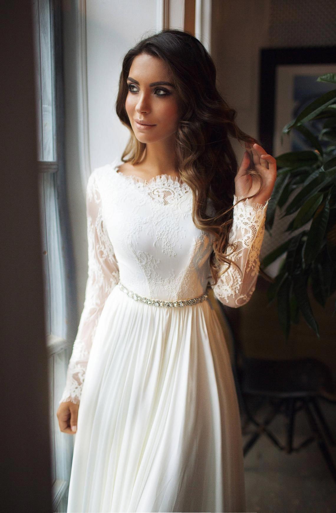 Long sleeve wedding dress Ariel lace open back Etsy
