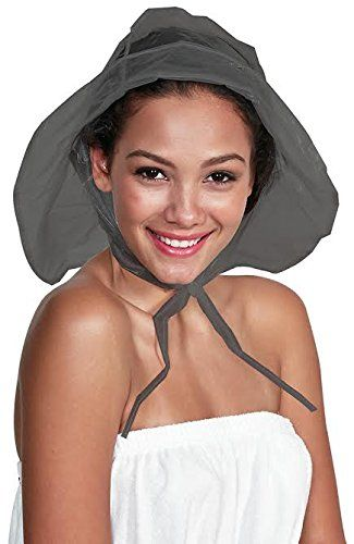 8437def0c09 Rain Hat with adjustable Brim and Extra Length Chiffon bonded to Vinyl by  Betty… Rain