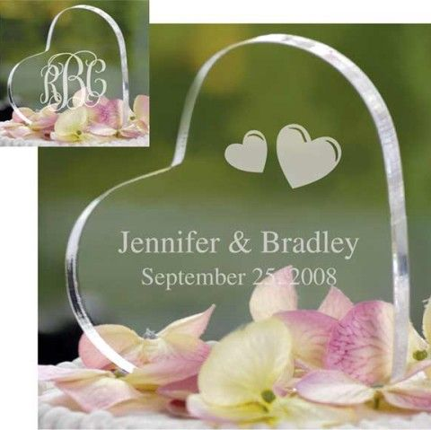 Heart Shaped Bride And Groom Wedding Cake Toppers