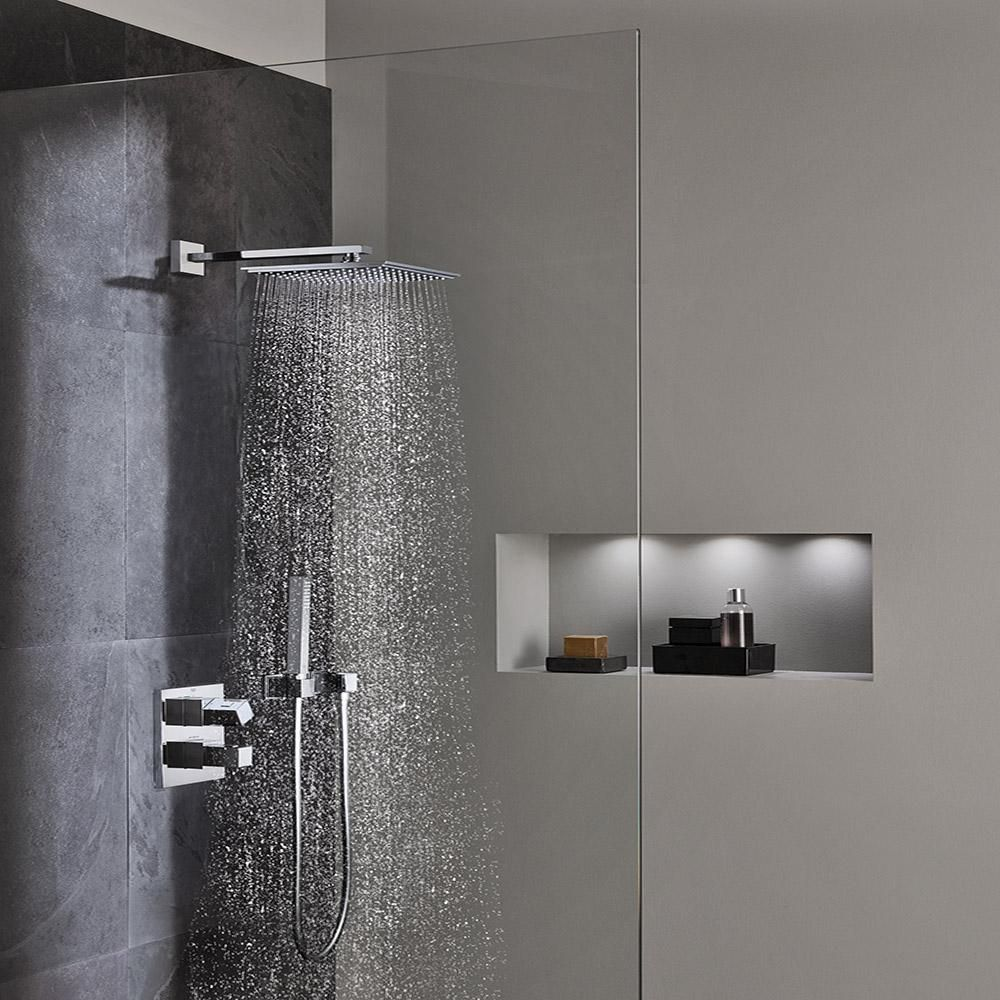 Grohe Euphoria 1 Spray 6 In Single Ceiling Mount Fixed Rain Shower Head In Starlight Chrome Douche Cabine De Douche Et Douche Encastree