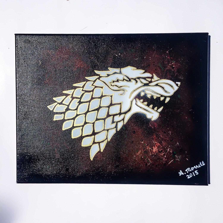 Game of Thrones GoT Spray Paint Art on Canvas, Wolf Art, Wolf ...