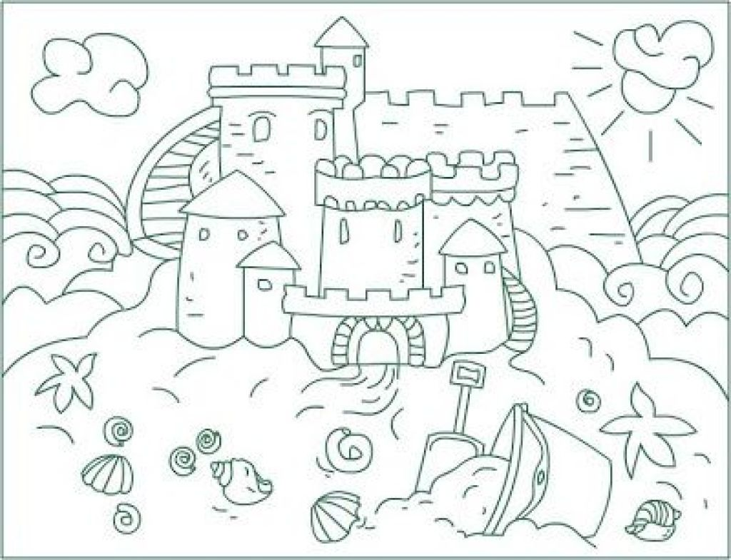 Kindergarten free colouring worksheets - Free Sand Castle Coloring Sheet For Kindergarten