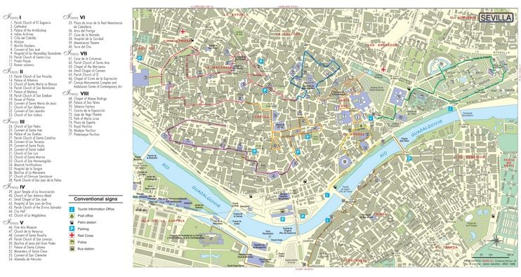Seville tourist attractions map Maps Pinterest Spain and City