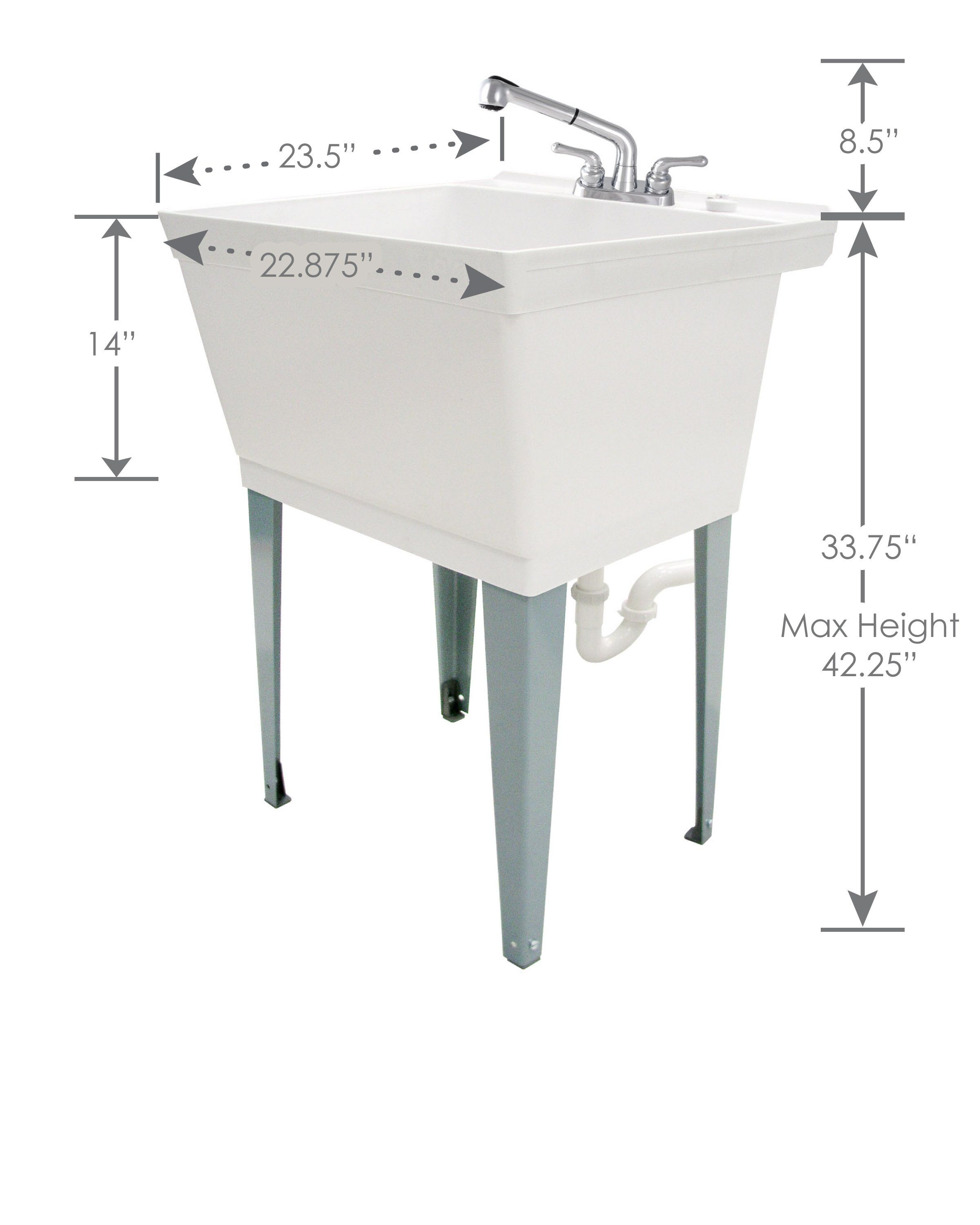 19 Gallon White Laundry Tub With Pull Out Faucet 6000 In 2020
