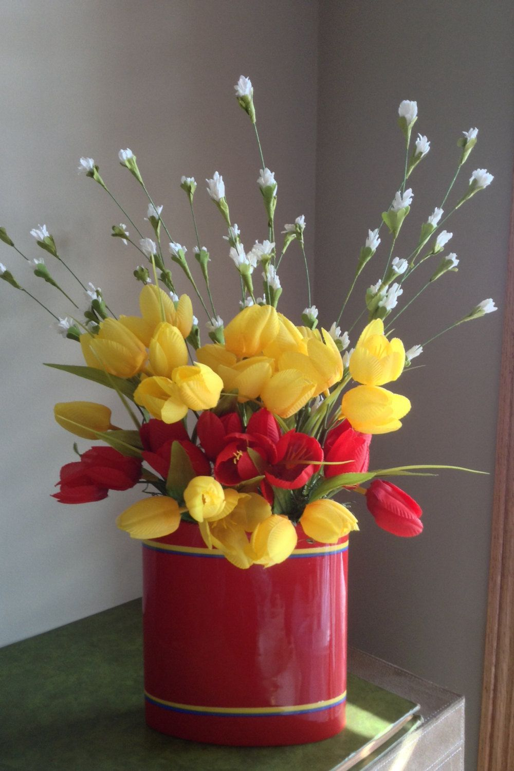 Red tulips yellow tulips silk flower arrangement red ceramic vase red tulips yellow tulips silk flower arrangement red ceramic vase faux flowers red and yellow flowers home decor bright flowers by nauticocreations mightylinksfo