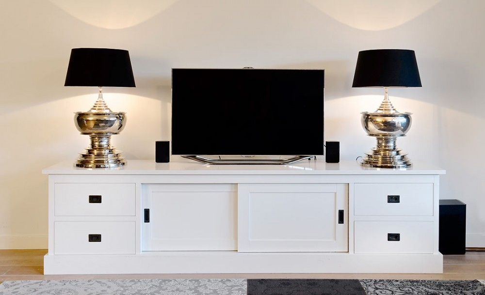 Tv Schrank Grau Massivholz Lowboard Grau Mit Schiebeturen
