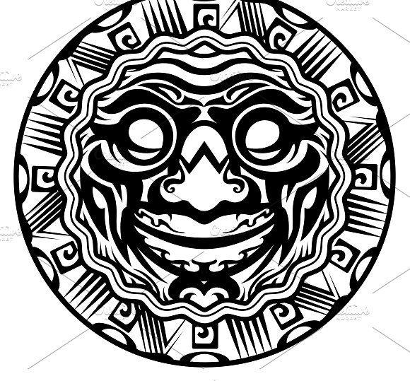 Smiling Face Polynesian Tattoo Maori Tattoo Polynesian Tattoo Designs Polynesian Tattoo