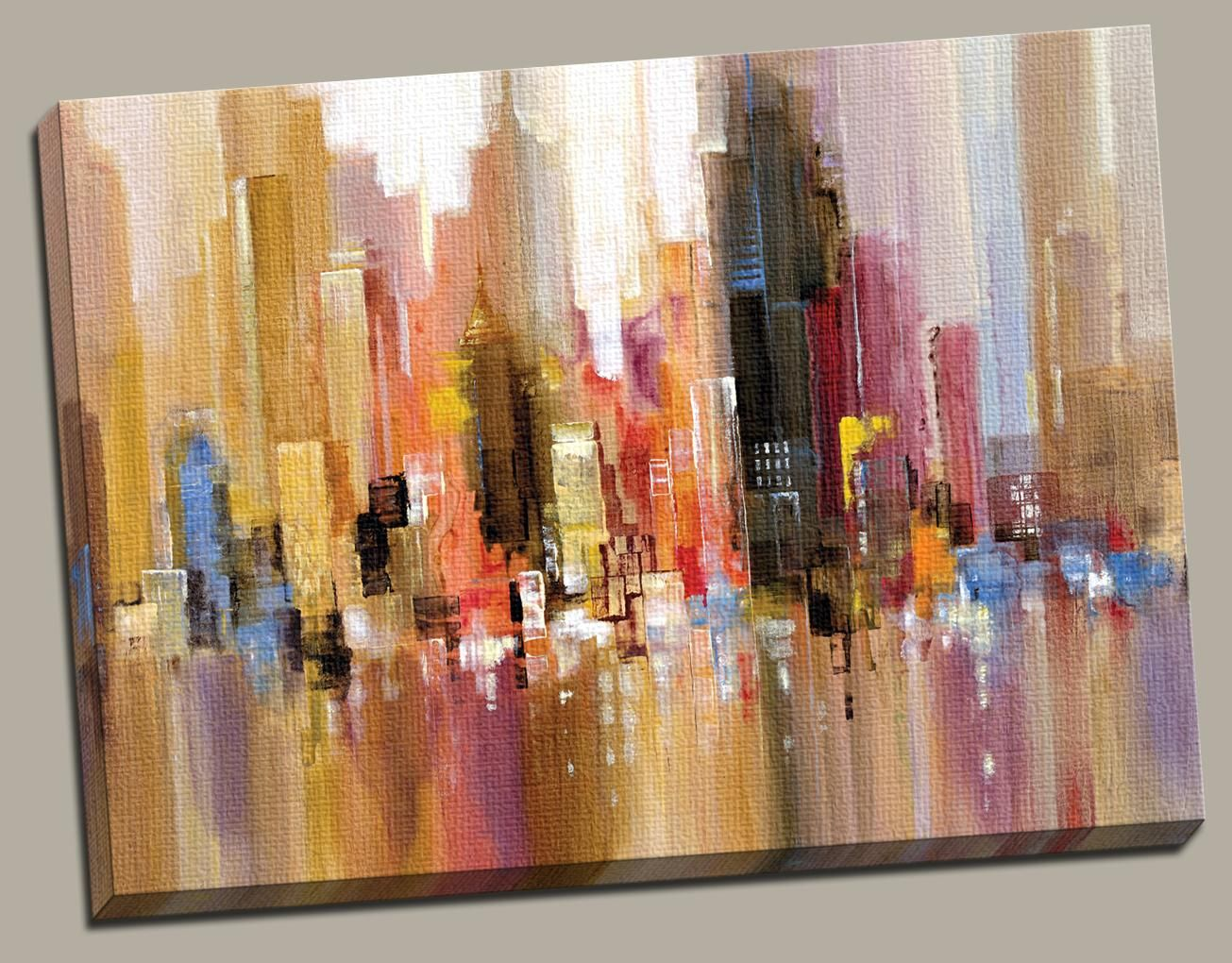 skyline city painting water colors abstract new york city city lights