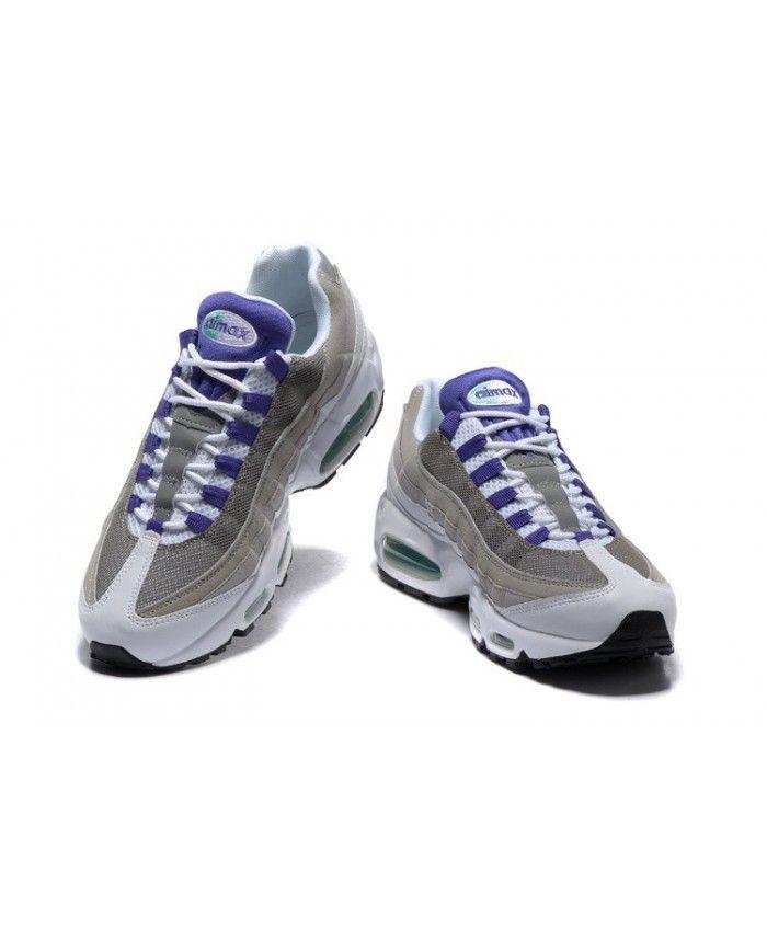 brand new e8369 50945 Femme Nike Air Max 95 Blanche Verte Grise Pourpre Chaussures Style  authentique, la livraison gratuite