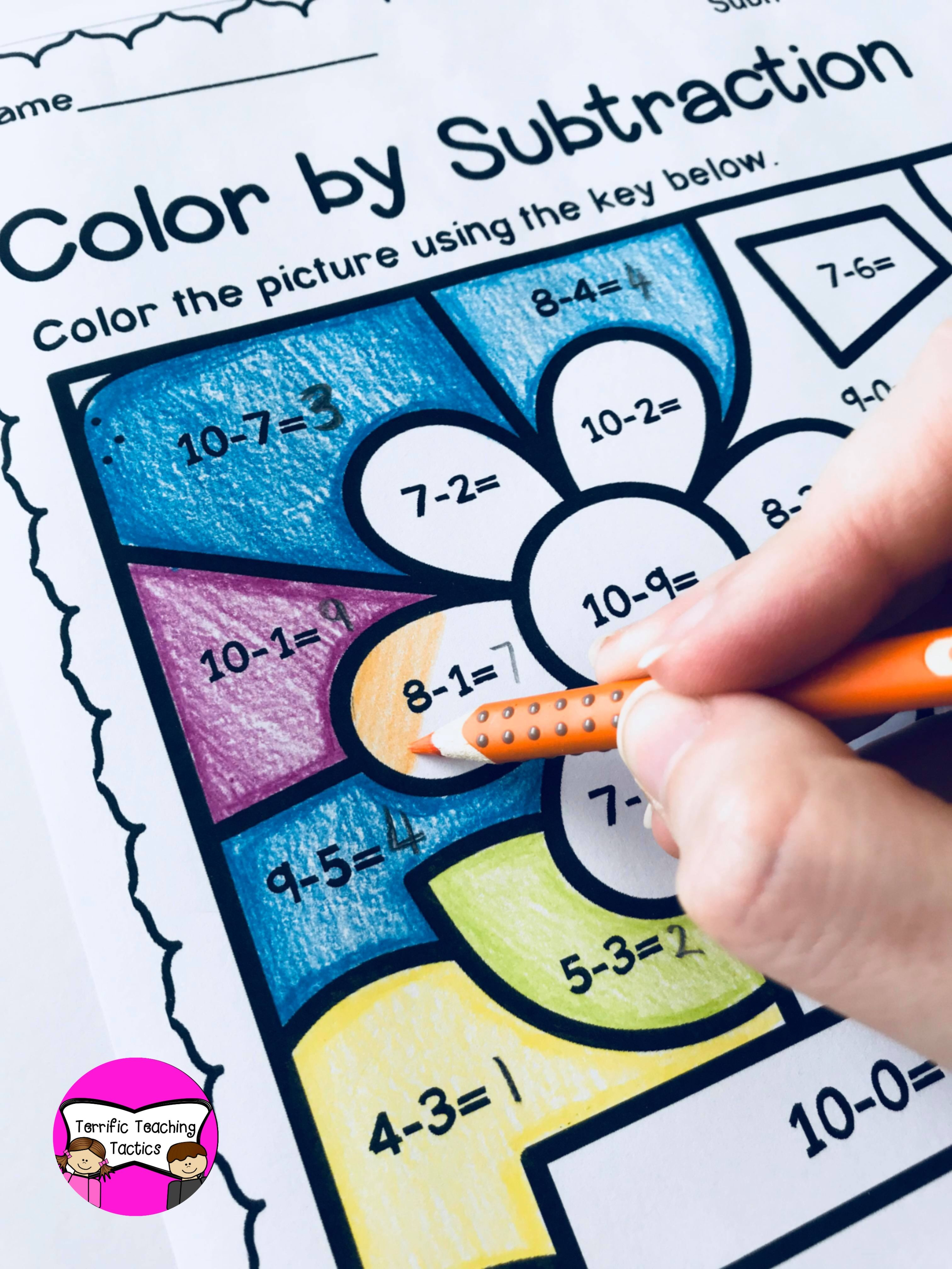 Spring Color By Subtraction Worksheets