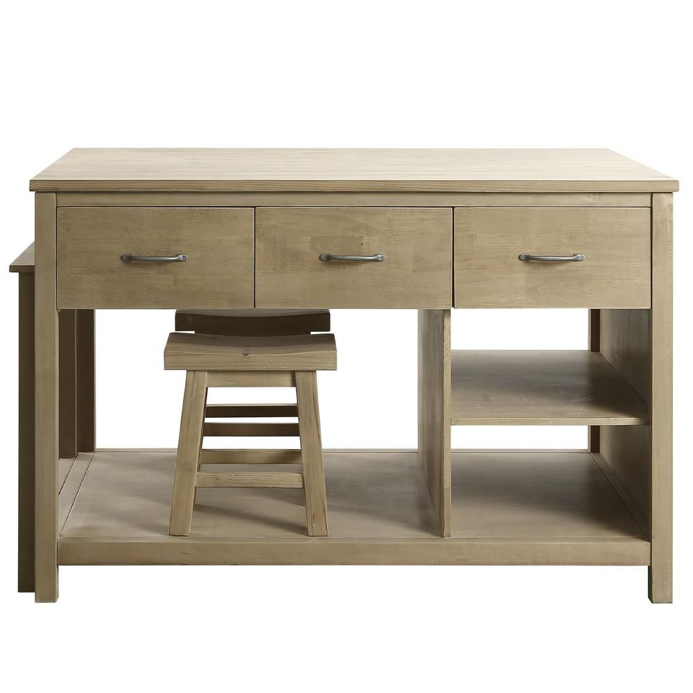 Design Element Garrett Natural Kitchen Island With Slide Out Table Kd 02 The Home Depot Kitchen Furniture Design Kitchen Island With Seating Grey Kitchen Island