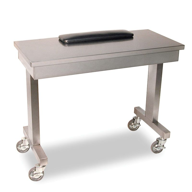 CP-8818 Stainless steel manicure table is one of the best selling manicure tables on the market.  Complete with black padded armrest and heavy duty locking casters, the Stainless Steel manicure table adds a touch of elegance to any training area.