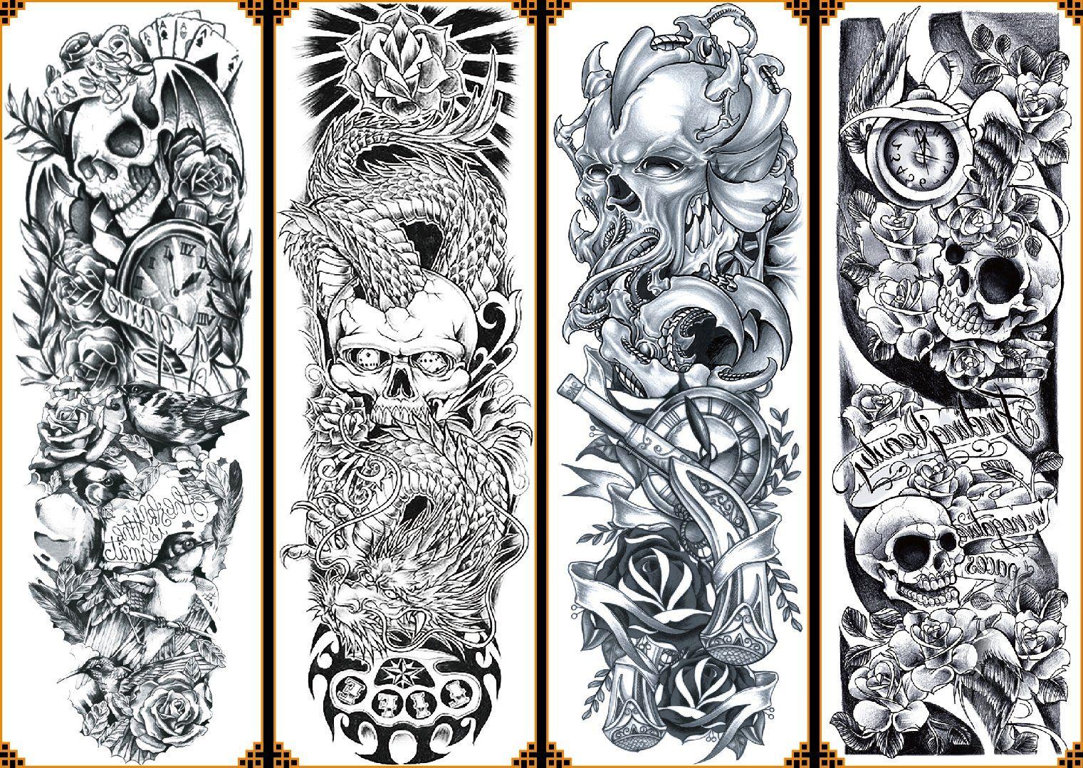 070fc 4sheet Large Temporary Tattoos Big Long Full Arm Tattoo Sticker Unisex Body Art Skull Flower Patt Fake Tattoo Sleeves Full Arm Tattoos Arm Sleeve Tattoos