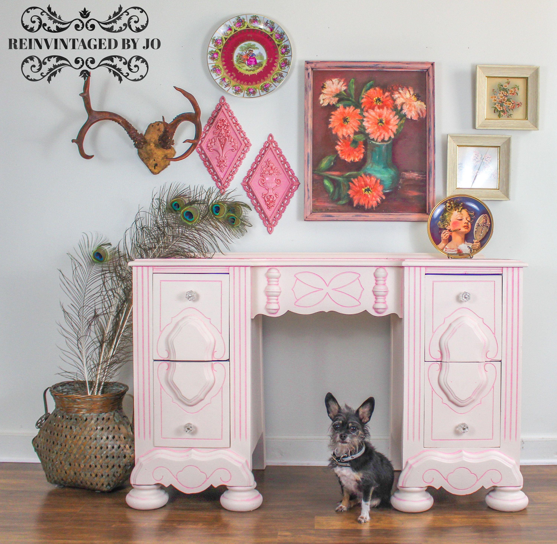 Handpainted Vanity Desk Light Pink Stenciled Painted Furniture Nursery  Bedroom Little Girls Room Decorations Antique Vintage