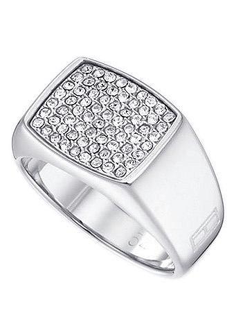Tommy Hilfiger Jewelry Ring, »2700732B-E, Classic Signature«.  Aus Edelstahl, mit Swarovski-Kristallen, ca.11 mm breit, verlaufend.  Lieferung in einer TOMMY-HILFIGER-Verpackung....