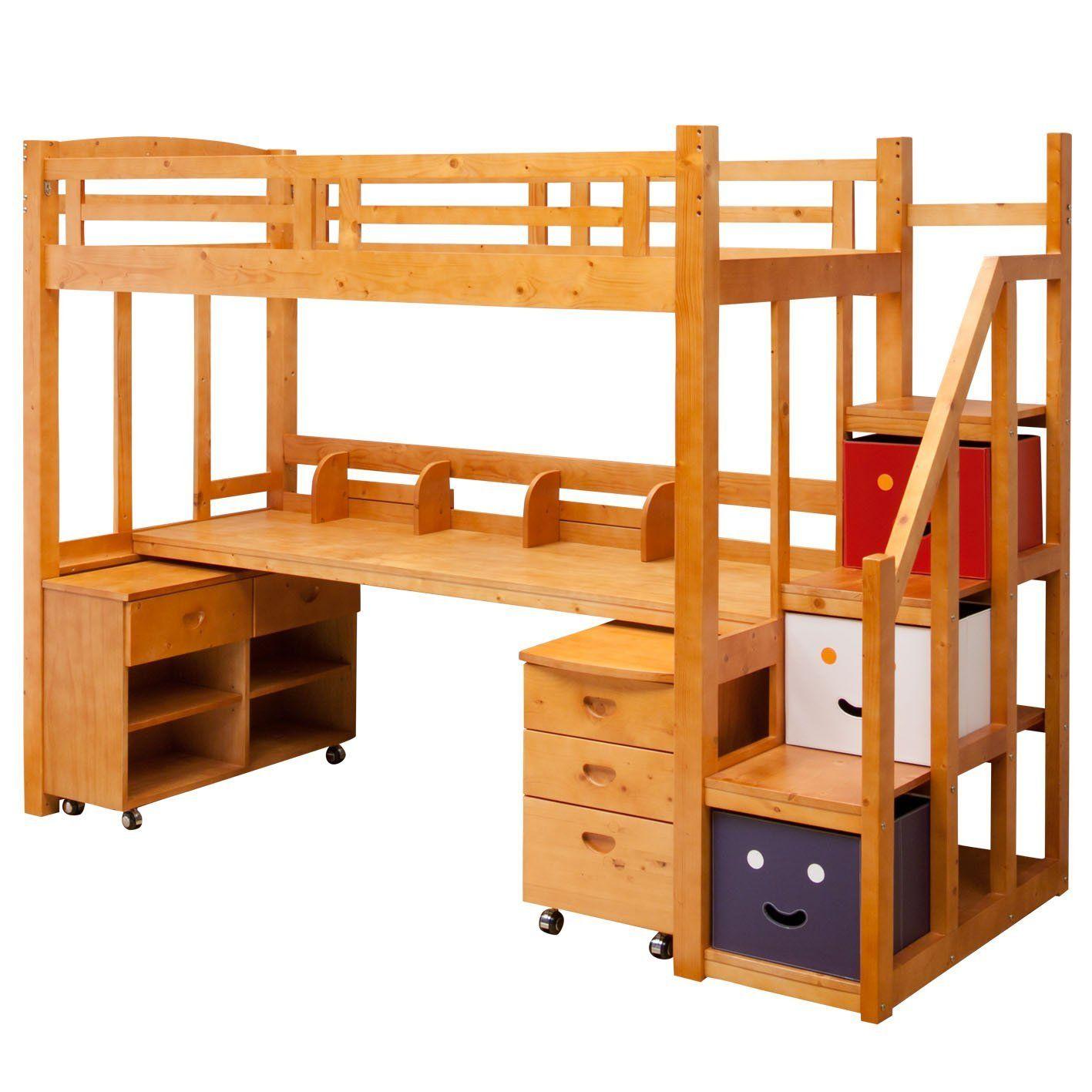 ベッドに行くのがはしごという物が多い中、こちらはしっかりした階段に