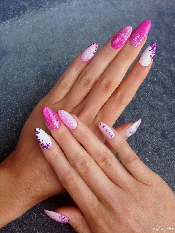 Bachelorette Party Stiletto Nails With Glitter And Diamond Nail Art Pink Bling