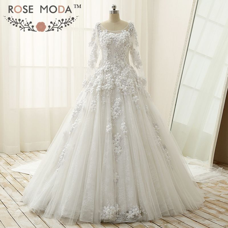 From China Beaded Bridal Gown Suppliers Gorgeous Sheer Bateau Neck Long Sleeves Lace Ball Illusion Back Cathedral Royal Train Pearl Roses