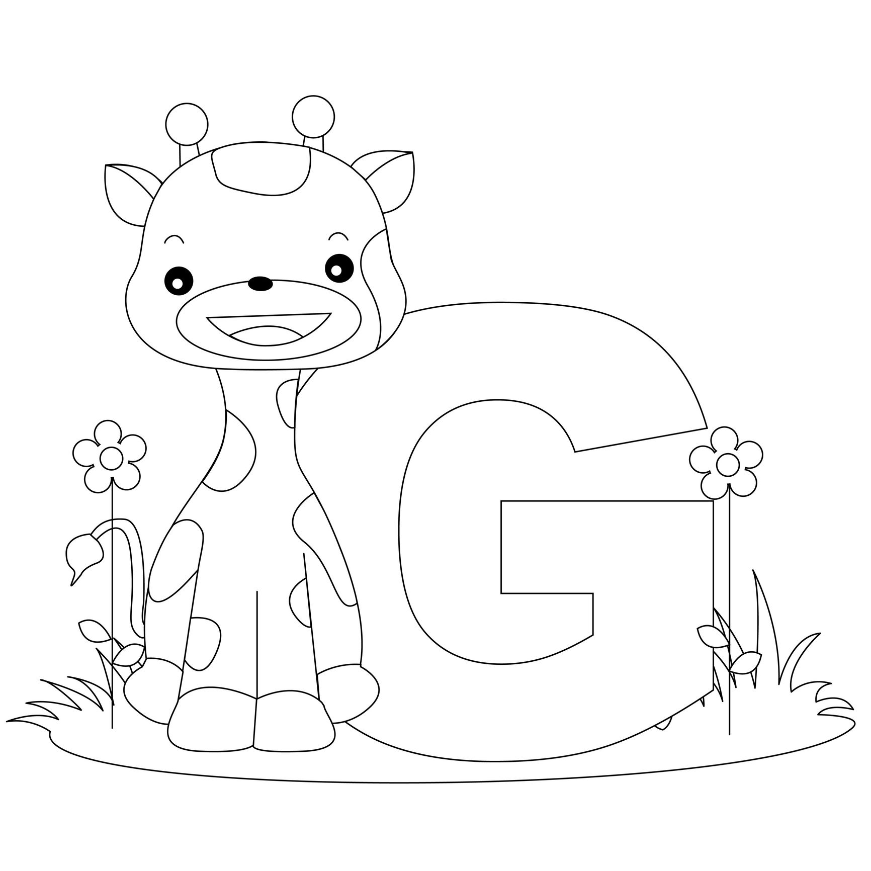 Alphabet pages for coloring book - Animal Alphabet Letter G Is For Giraffe Here S A Simple Alphabet Coloring Pagescoloring Pages For Kidsprintable