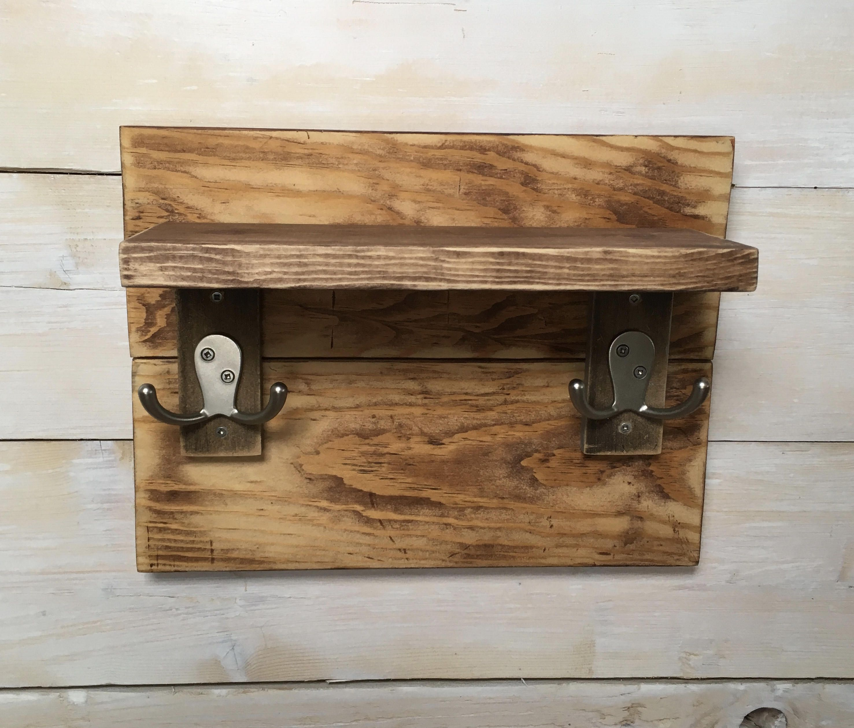 Small rustic coat rack u shelf from pallet wood home decorating