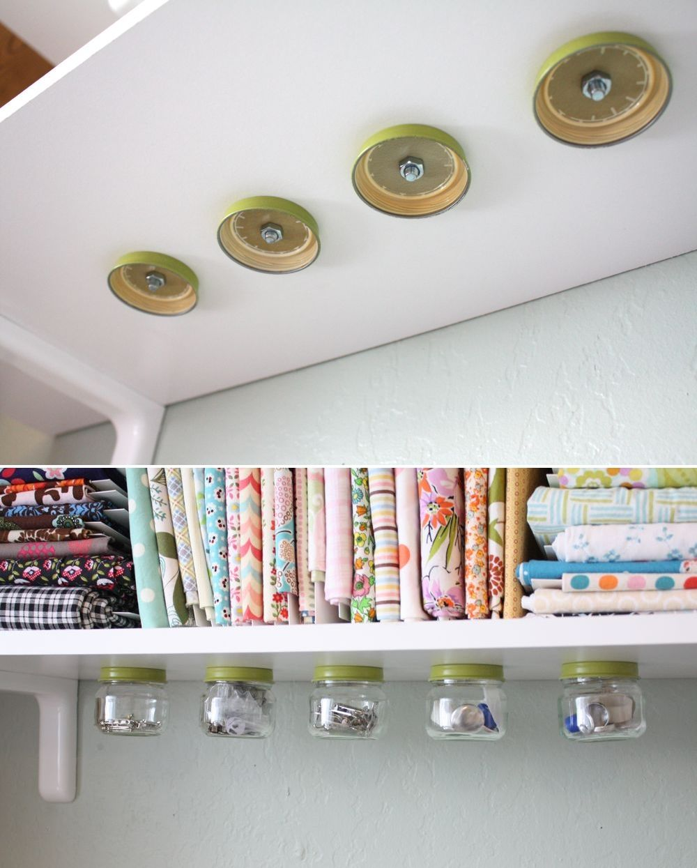 DIY: under the shelf jar storage