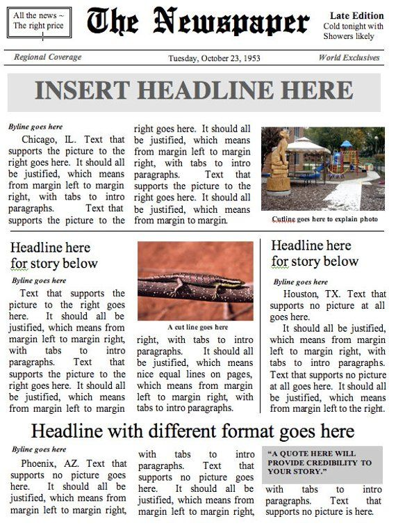 Front Page Newspaper Template Ms Word Document Products In 2018