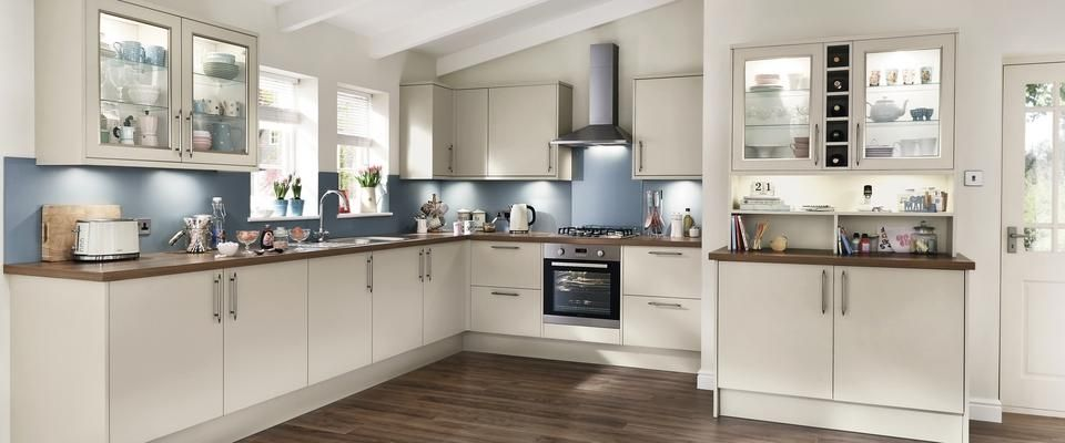 For A Modern Compact Kitchen, Where Space Is Limited, Create Storage With  Deeper Wall Units And Bespoke Shelving Using Greenwich Gloss Cashmere  Kitchen.