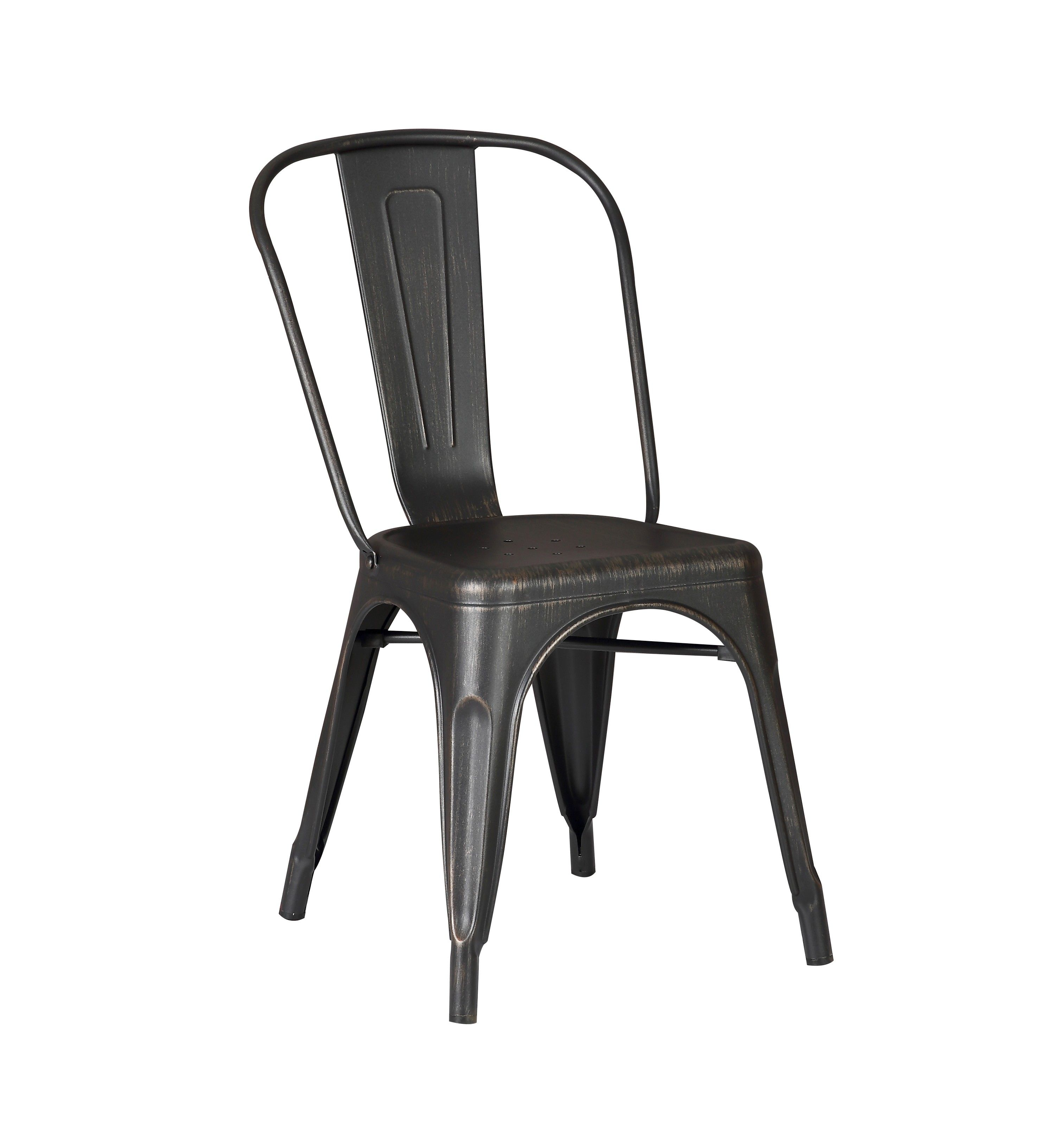 black metal dining chairs. Distressed Black Metal Dining Chair 18-inch Seat Height With Back, Set Of 2 Chairs D