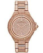 Michael Kors Women's Camille Glitz Rose Gold-Tone Stainless Steel Bracelet Watch 43mm MK5862