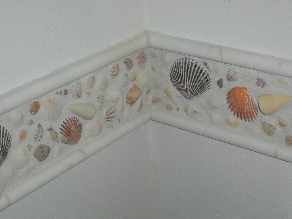 I Wanted To Do Something With All The Shells I Have Collected Over The Years This Is My Creation Beach Theme Bathroom Seashell Bathroom Decor Room Wallpaper