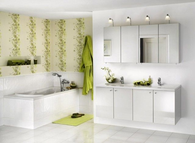 green blue and white bathrooms   White Modern Bathroom with Lime Green  Wallpaper. green blue and white bathrooms   White Modern Bathroom with Lime