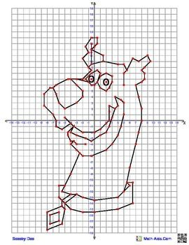 Scooby Doo Coordinate Graphing Picture4 quadrant graphing picture from Math-Aids.com