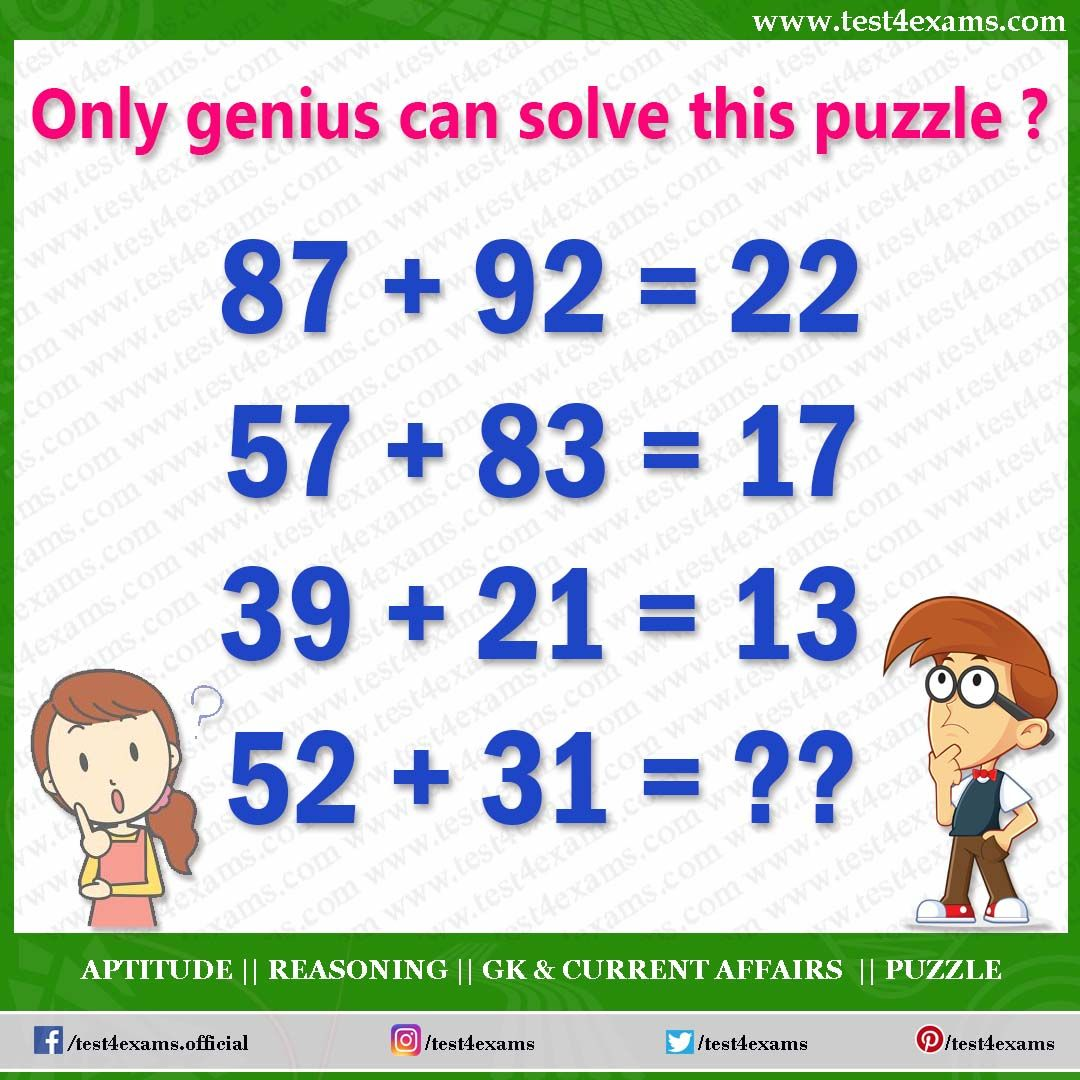 Only Genius Can Solve This Puzzle 87 92 22 57 83 17 39 21 13 52 31 Get More Brain Teas Math Puzzles Brain Teasers Maths Puzzles Brain Teasers With Answers