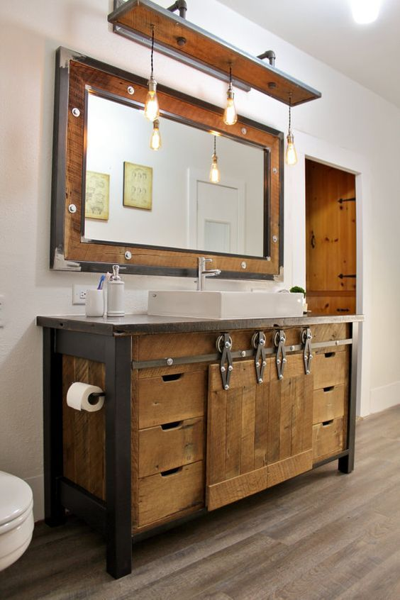 reclaimed wood bathroom vanity with metal details and the same