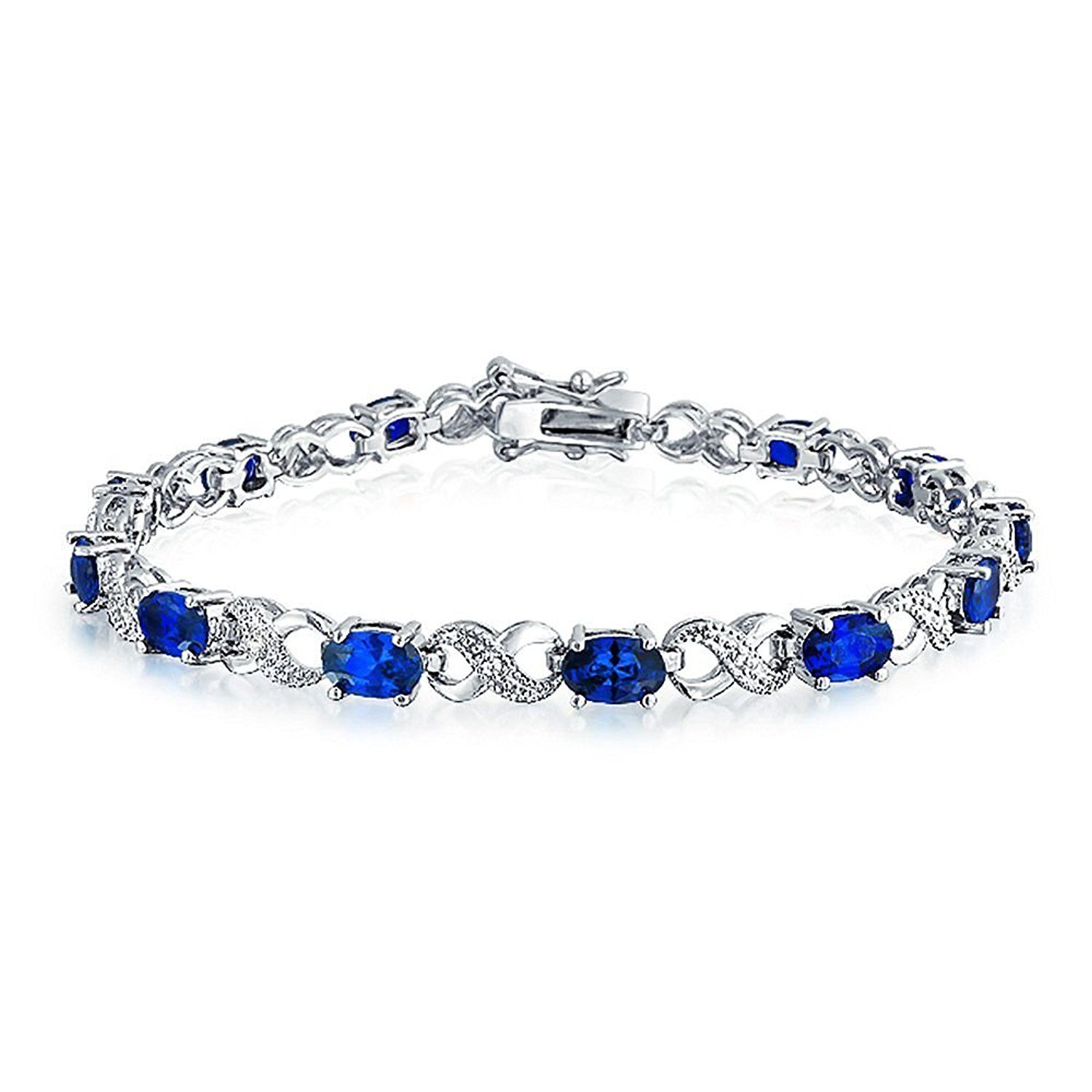 Bling jewelry simulated sapphire cz figure eight infinity tennis