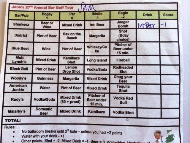 Sam Dobson Writes Party Theme Bar Golf Pub Golf Scorecard Pub Golf Golf Scorecard