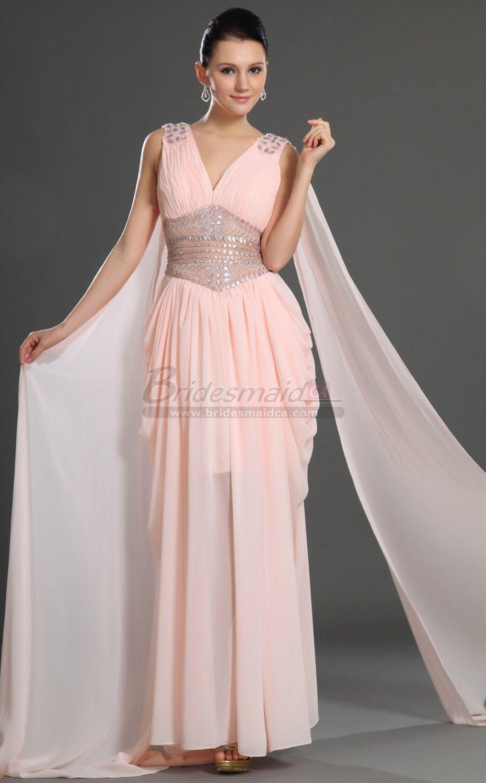 Pink Chiffon V Neck Long Sheath Bridesmaid Dress BD-CA547 ...